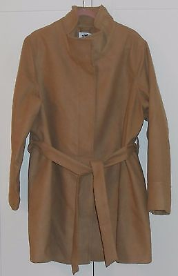 Old Navy Maternity Camel High Collar Hidden Buttons Belted Coat - Size Xxlarge