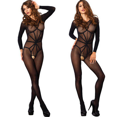 Leg Avenue Opaque Illusion Sleeved Bare Bottom Crotchless Bodystocking/Body 8-12