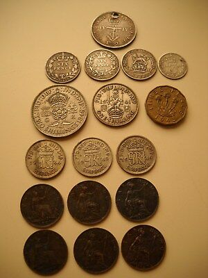 (17) Britain-Pence/Farthing/Shilling Coin Lot-1800's-1900's, Circulated Cond
