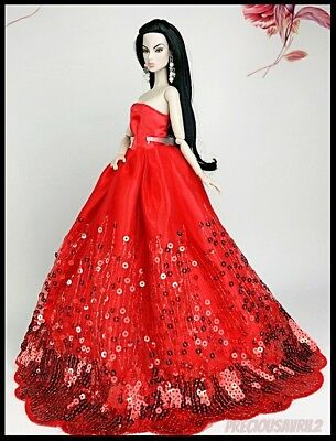 Barbie Doll Clothes GLAMOUR Red Sequin Dress/Wedding Party/Evening /Clothes