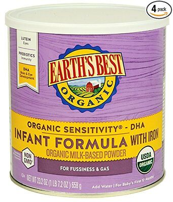 Earth's Best Baby Organic Sensitivity Infant Formula with Iron, 23.2 Ounce (4PK)