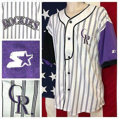 fc8f5b06 promo code for germany vintage starter mlb colorado rockies pinstripe  stitched sewn throwback jersey xl 73d3a