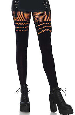 Leg Avenue Black Opaque Faux Tights With Striped Fishnet Accent Pantyhose O/S