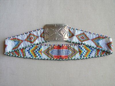 vintage native American beaded BELT with silver buckle