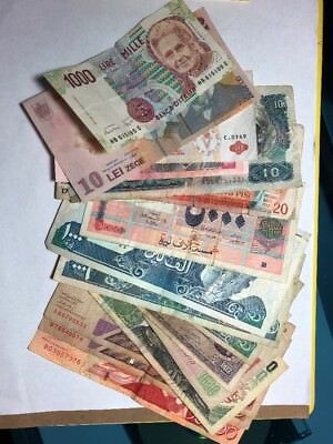 Lot of 19 World Paper Money Currency Banknotes Vintage.