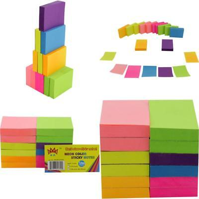"Sticky Notes Pop Up Memo Reminder Neon Colors 12 Pads 1200 Sheets 1.5X2"" No Tax"
