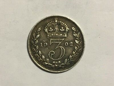 1902 Great Britain Threepence Silver Coin (92.5% Silver 1.41g)