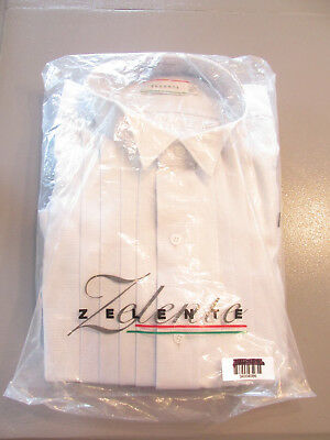 New Vintage Zelente Off White Cotton Tuxedo Shirt French Cuff Wing Tip 16 X 33