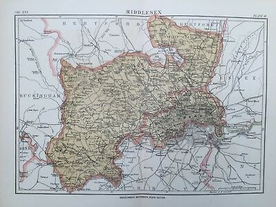 1892 Antique map - Middlesex - Encyclopaedia Britannica
