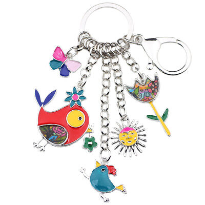 Enamel Alloy Bird Sun Flower Butterfly Car Key Chains Ring Women bag Charms
