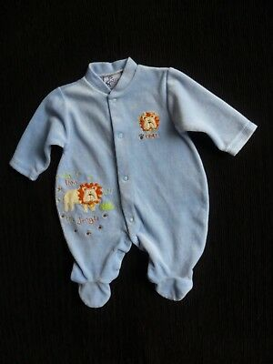 Baby clothes BOY newborn 0-1m blue velour lions JFB babygrow 2nd item post-free!