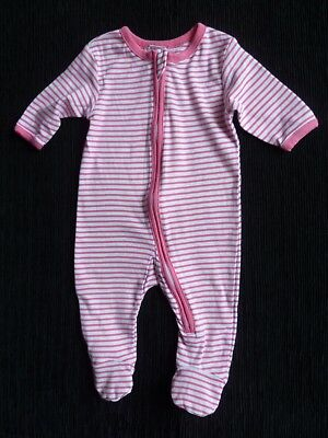 Baby clothes GIRL 0-3m zip Avenue pink/white stripe babygrow 2nd item post-free!