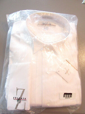 Vintage Zelente White Cotton Pleated Tuxedo Shirt French Cuff Wing Tip 15 X 33