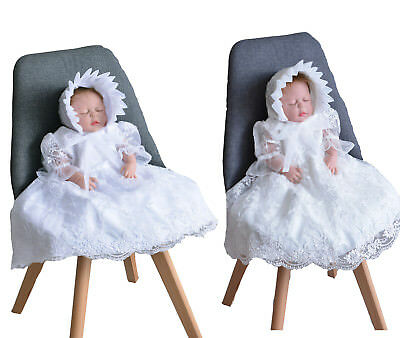 f961ea020 BABY GIRLS IVORY Lace Party Christening Dress Bonnet Jacket 0 3 6 9 ...