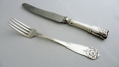 Antique Norwegian 830S NM Silver 2 pce cutlery by Magnus Aase Bergen HARDANGER