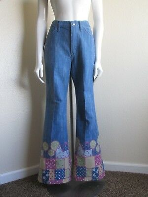 vintage 1970s Maverick high waisted patchwork print bell bottoms jeans-vtg 11/12