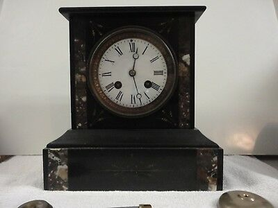 Antique French Slate Marble Mantel Clock, Great Small Size!!