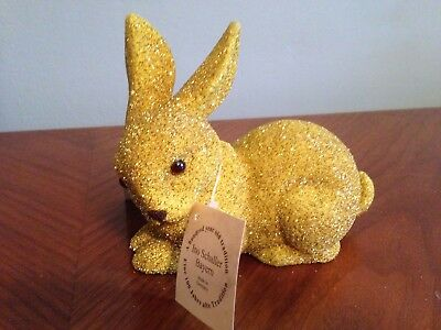 Ino Schaller Bayern Germany Gold Beaded/Glitter Bunny Figurine NWT Easter
