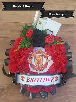 Artificial Silk Flower Round Football Funeral Wreath Memorial Manchester United