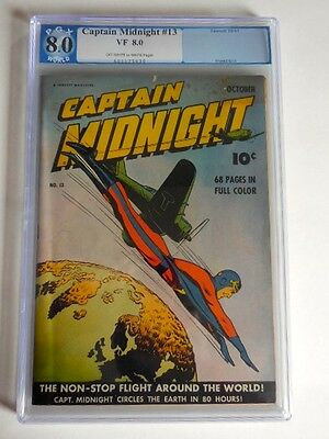 1943 Fawcett Captain Midnight #13 PGX VF 8.0 Gerber 8