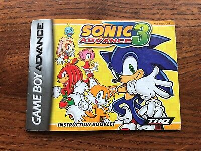 SONIC ADVENTURE 3 Gameboy Advance Instruction Manual Only