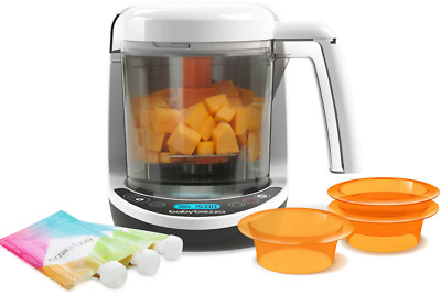 Baby Brezza Food Maker Complete With Storage Pouches Puree Carrots Apple Mango