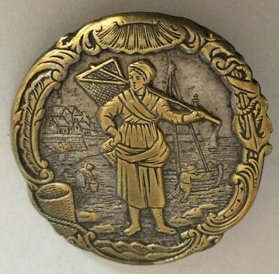 Woman Fishing Scene Pictorial Border Boats Figures Antique Button Old Nautical