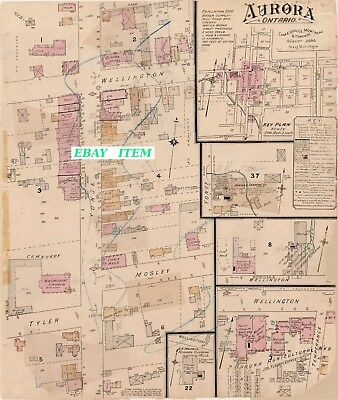 AURORA Middlesex County ONTARIO 2 Different Street & Building Maps 1890