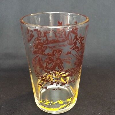 Davy Crockett Frontier Hero Jelly/Juice Glass Brown Yellow