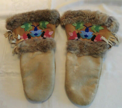 Vintage Leather Mittens Gloves with Fur Trim and Beautiful Multi-Color Beadwork