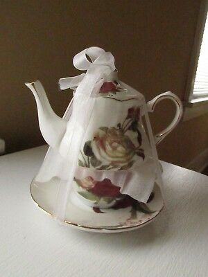 Small roses teapot and single cup and saucer from Grace Teaware.