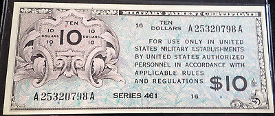 $10.00 Military Payment Certificate Paper Money, US Currency 461 Series