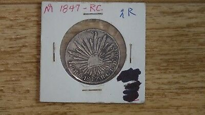 MEXICO FIRST REPUBLIC 2 REALES 1847 RC OM SCARCE 20 grams, silver