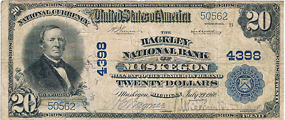 1902 $20 The Hackley National Bank of Muskegon Michigan Ch#4398 Fine