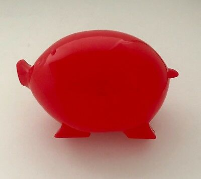 Red Plastic Pig Piggy Coin Bank