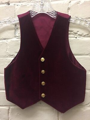 Vtg 4 Cotton Velvet Vest Deep Maroon Gold Buttons Boy Unisex EC