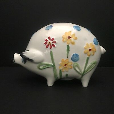 White Ceramic Pig Piggy Coin Bank w/ Flowers Hand Painted Made in Brazil
