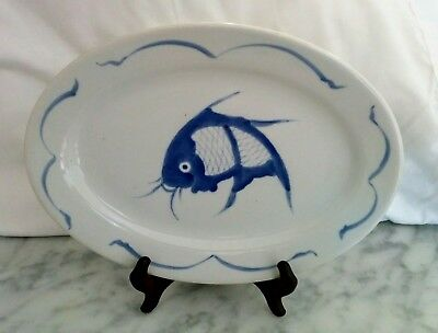 Vintage Chinese Blue & White Fish Koi Carp 12 Inch Oval Serving Platter Plate