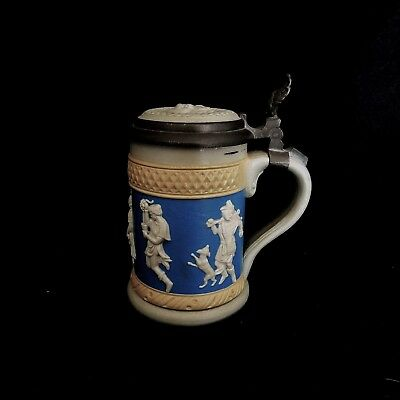 Exceptional Mettlach V&B Relief Decorated Lidded Stein #171 Circa 1889