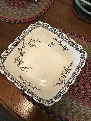 Large Square Victorian Aesthetic Movement Ironstone Bowl