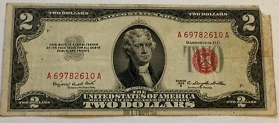 1953 B $2 Two Dollar Bill United States Legal Tender Red Seal Note Good!