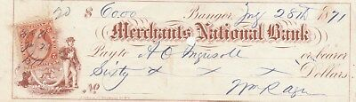 1871  Bangor, Maine   Old Check With Vignette & Revenue Stamp