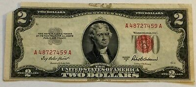 1953 A $2 Two Dollar Bill United States Legal Tender Red Seal Note Good!
