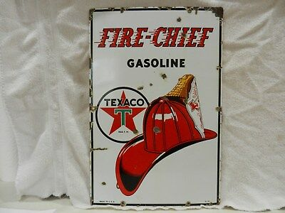 Texaco  Fire Chief Gasoline Pump Plate - Original