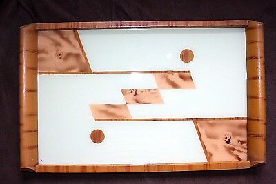ART DECO SERVIER TABLETT 1930 Hinterglas Holz 30er Jahre Servierplatte Tray