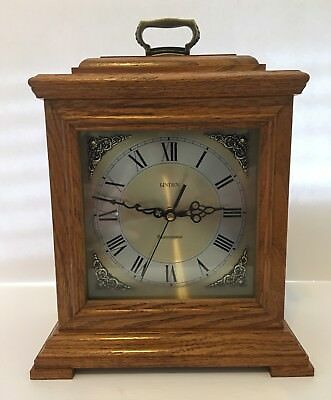 Linden Westminster Chime Mantle Clock Wood Excellent Working Condition