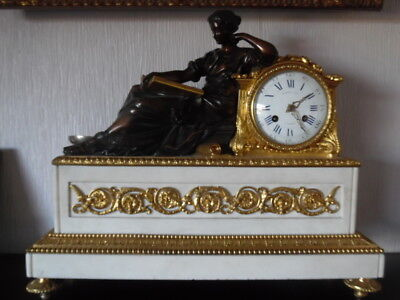 victorian carrera marble bronze gilt mantle clock by raingo freres