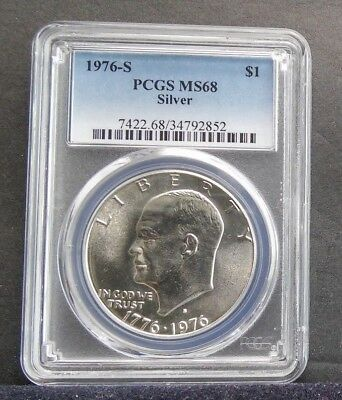 1976 S $1 PCGS MS68 Silver Top graded Silver Eisenhower Dollar low pop Coin