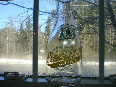 Rare Vintage Pine Grove Dairy,wells River Vt Quart Size Milk Bottle.