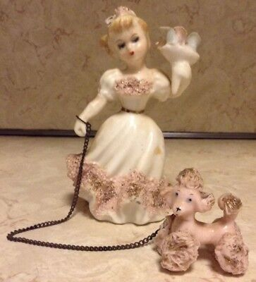 Lefton Vintage Lady with Spaghetti Poodle on chain